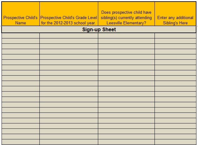 Sample Sign Up Sheet. Sign Up Template Word Doc 456651 Holiday