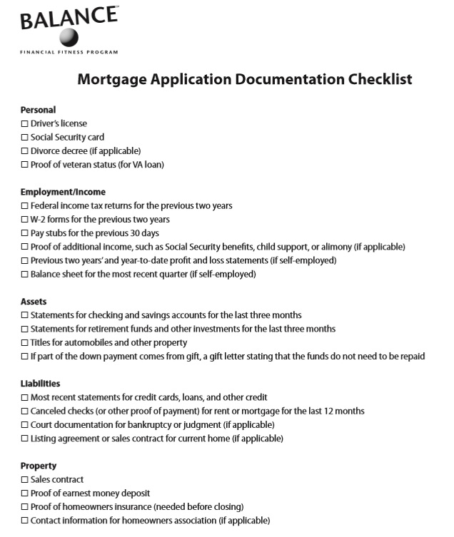 Free Sample Home Mortgage Checklists  Printable Samples