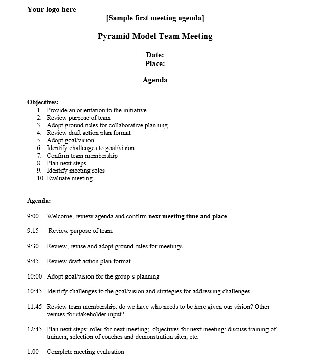 here is preview of another sample strategic meeting agenda template created using ms word