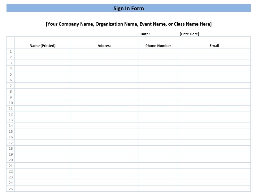 graphic about Free Printable Sign Up Sheet called Pattern signal inside sheet templates - toib.tk