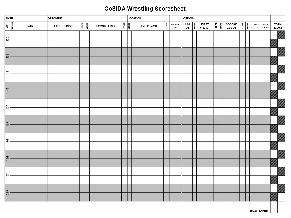 8 Free Sample Wrestling Score Sheet Samples - Printable Samples