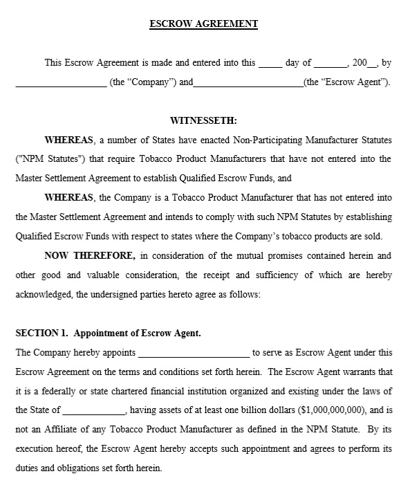 10 Free Sample Escrow Agreement Templates – Printable Samples