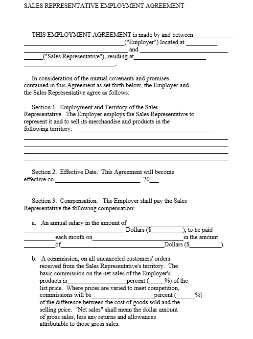 9 Free Sample Sales Representative Agreement Templates – Printable