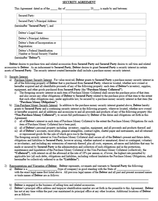 Here Is Preview Of Another Sample Security Agreement Template In PDF Format,