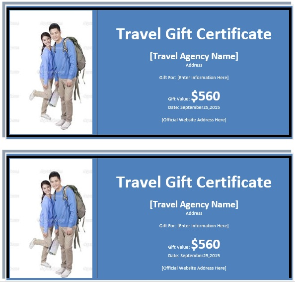 Free Sample Tourism Gift Certificate Templates  Printable Samples