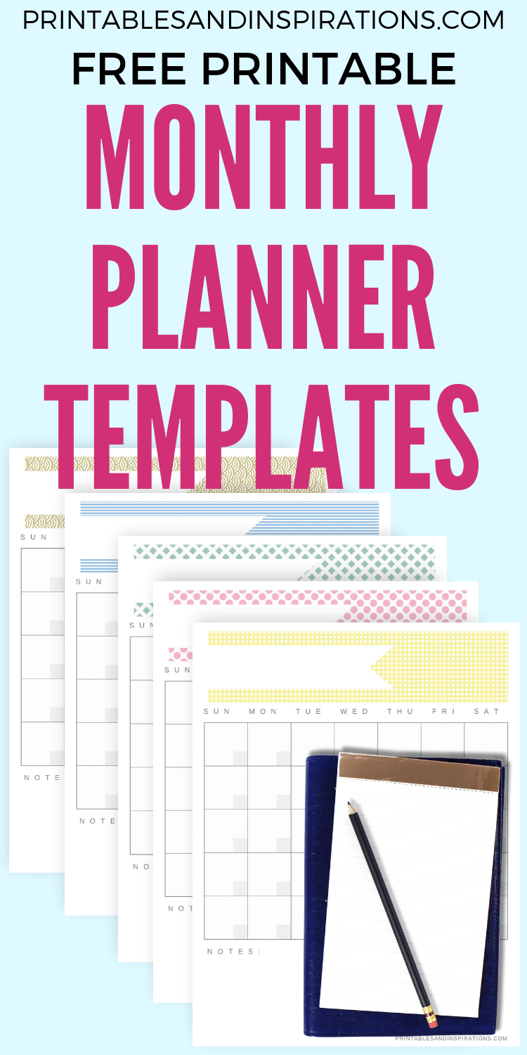 Free Printable Monthly Planner Templates! 5 cute monthly planners for kids and adults. Get your free download now! #freeprintable #lrintablesandinspirations