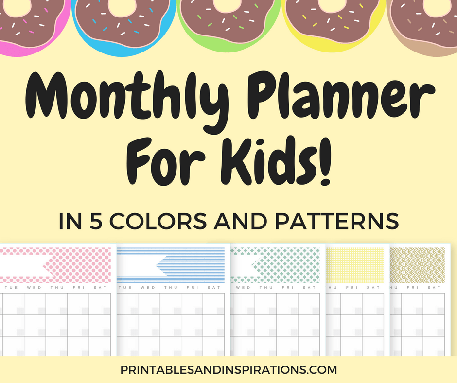 Get this free printable monthly planner for kids! (blank calendar, printable calendar, printable planner)