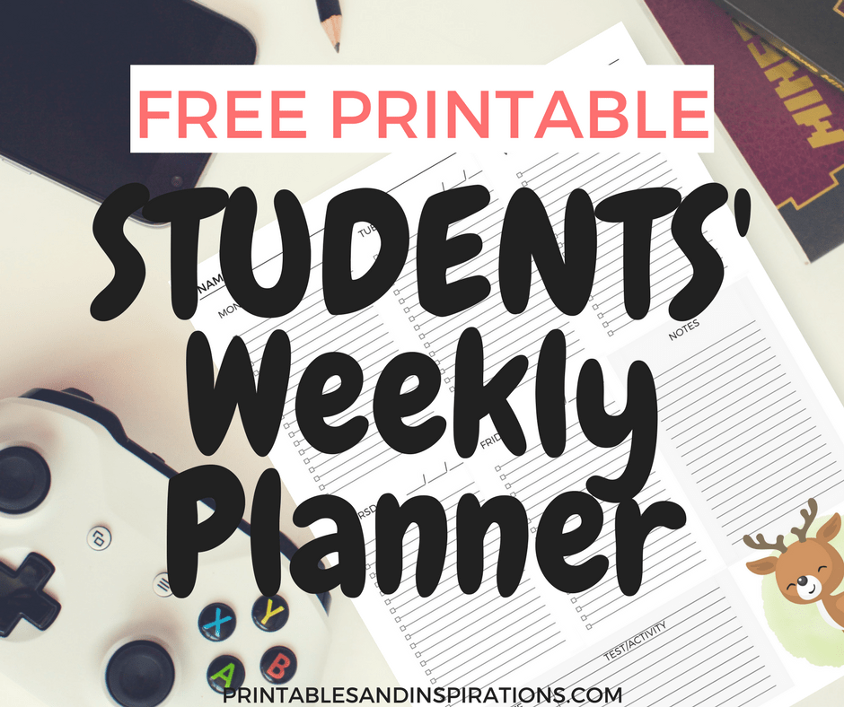 free printable student planner for students of all ages printables and inspirations
