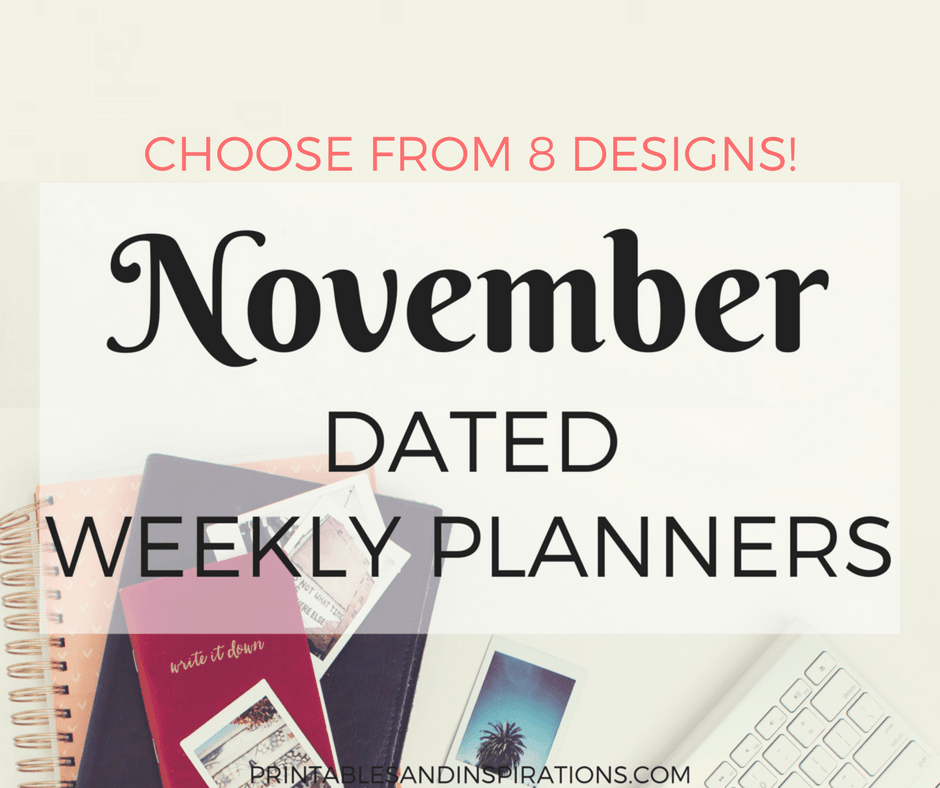 FREE PRINTABLE NOVEMBER WEEKLY PLANNER, DATED NOVEMBER 2017 PLANNER, WITH HABIT TRACKER, FLORAL AND SIMPLE