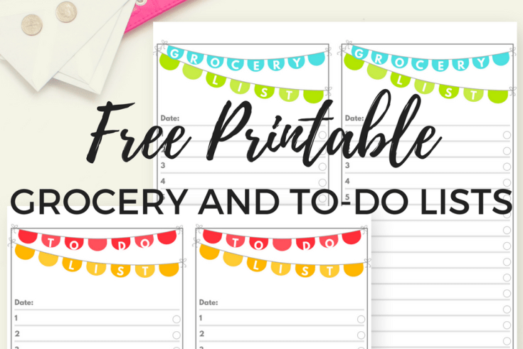 free printable to do list and grocery list, chore chart or shopping list, task list for organizing ideas and things to do