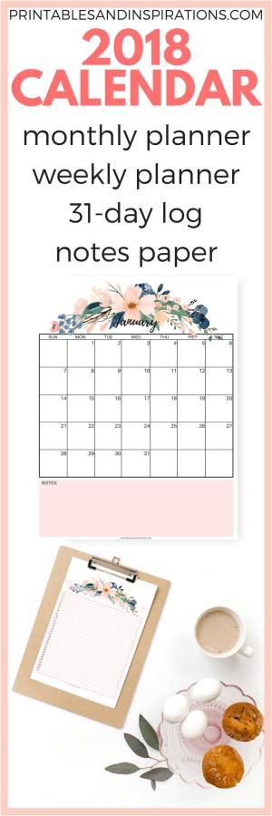 pretty 2018 calendar   free monthly planner   free printable calendar and weekly planner   floral calendar