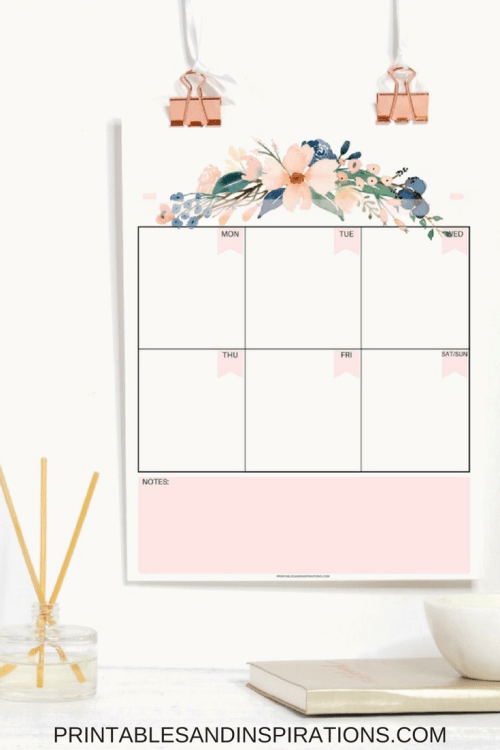 pretty 2018 calendar | free monthly planner | free printable calendar and weekly planner | floral calendar