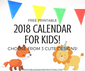 free printable 2018 calendar for kids, 2018 planner printables for kids