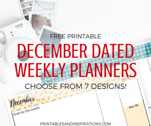 December calendar | Free printable December dated weekly planner | December weekly spread