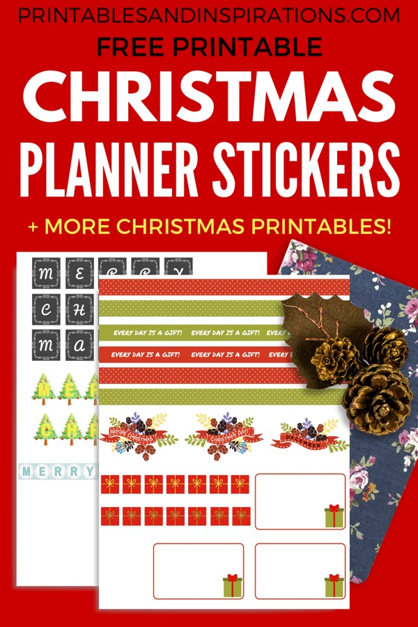 Free Planner Stickers For Christmas! Use to label your bullet journal or add a cute Christmas banner to your planner. Free download now! #Christmas #freeprintable #plannerstickers #bulletjournal #printablesandinspirations