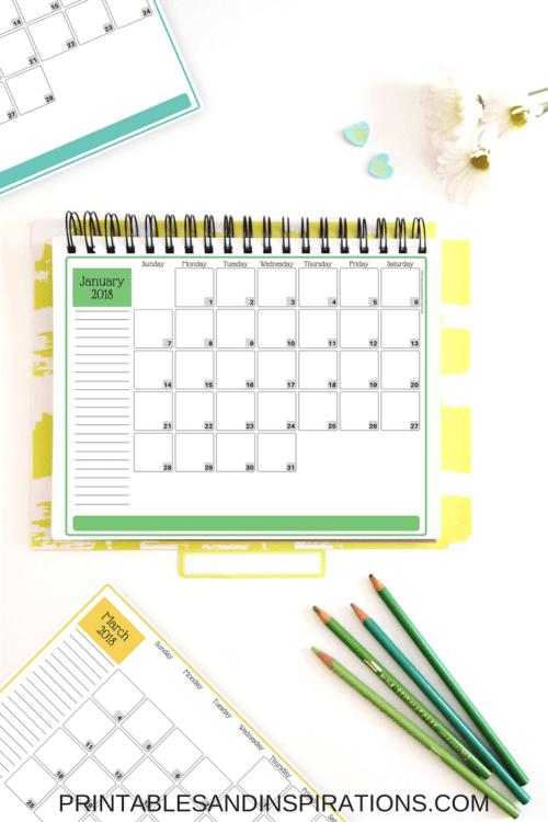 2018 calendar | free printable monthly planner | printable calendar | 2018 planner