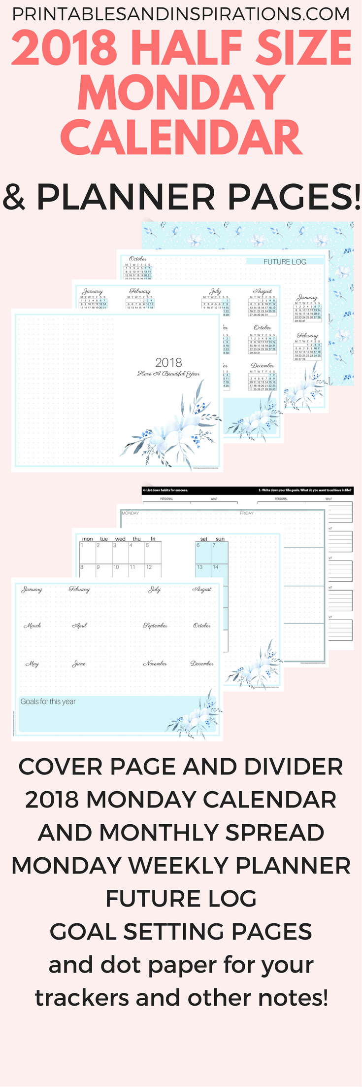 Free printable half size monday calendar and 2018 planner for Future planner online
