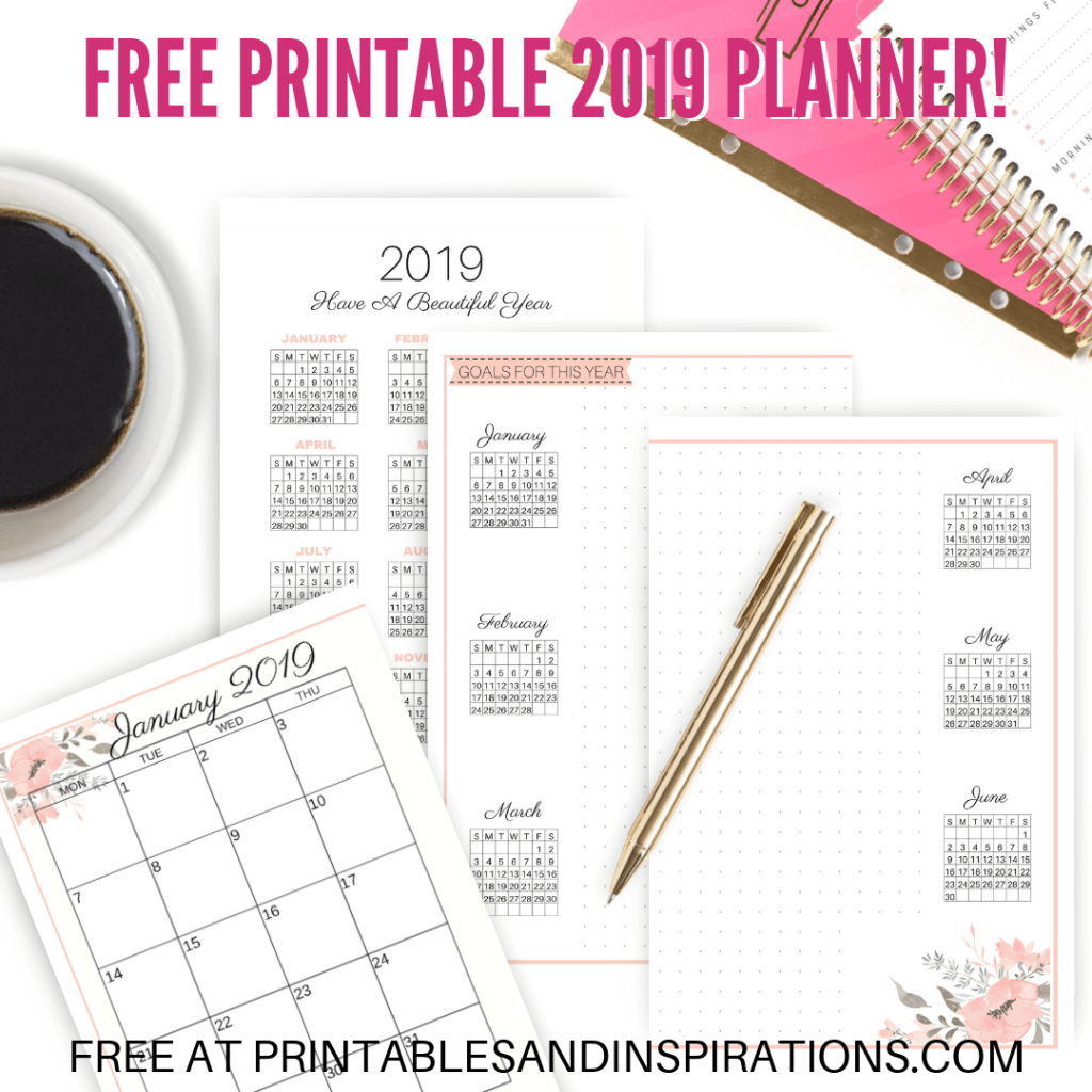 Free Printable 2019 Planner For School Or Work! Halfsize planner pages with 2019 calendar and monthly planner in two pages, at a glance 2019 calendar and future log. Plus school planner pages. Free download now! #2019calendar #freeprintable #printableplanner #printablesandinspirations