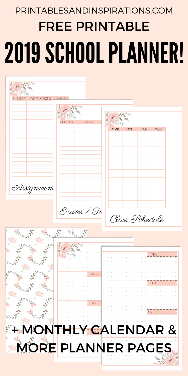 Free Printable 2019 2020 Planner For School Updated Printables