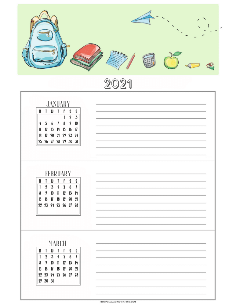 Free printable monthly goals planner with calendar - SEE PREVIOUS POST TO DOWNLOAD THE COMPLETE STUDENT PLANNER AND CALENDAR