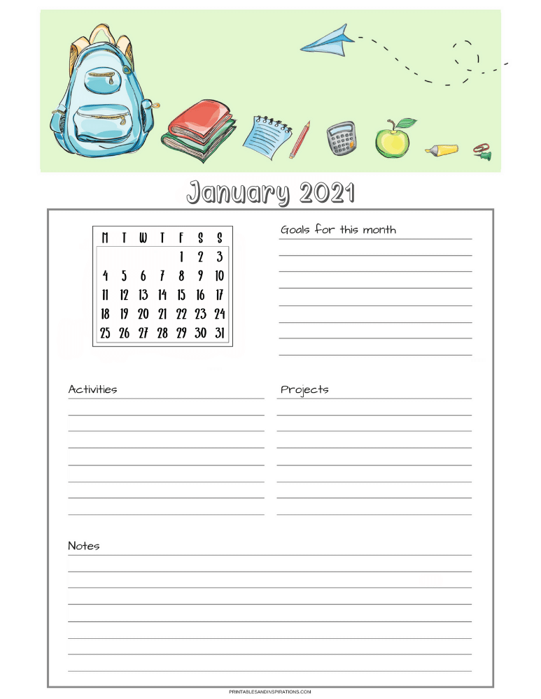 Free printable monthly goals overview with calendar - SEE PREVIOUS POST TO DOWNLOAD THE COMPLETE STUDENT PLANNER AND CALENDAR
