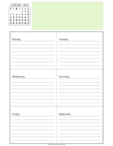 Free printable weekly planner printable with calendar - #printablesandinspirations #backtoschool