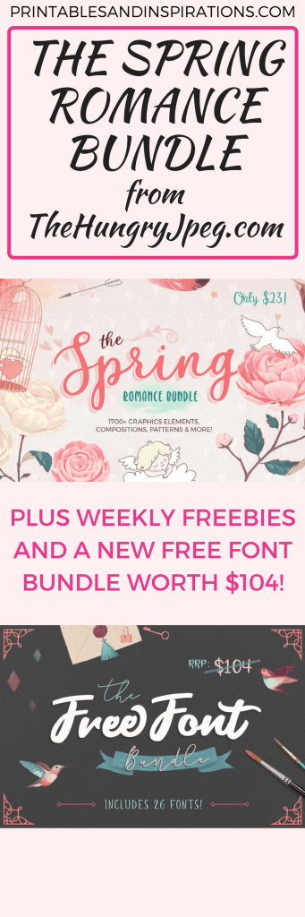 spring romance bundle, spring wedding ideas, wedding invitations, Easter decorations, free fonts, thehungryjpeg, Valentine's Day decor, gift tags, patterns