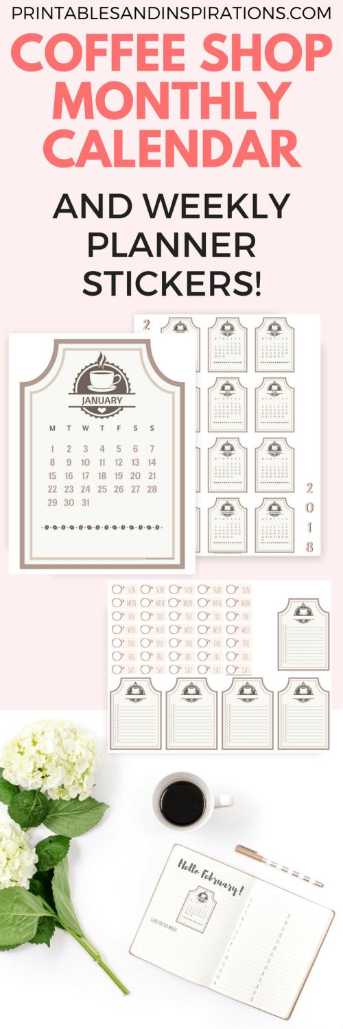 coffee shop printable calendar and weekly planner stickers, free printable 2018 calendar, coffee planner stickers, free planner printable stickers