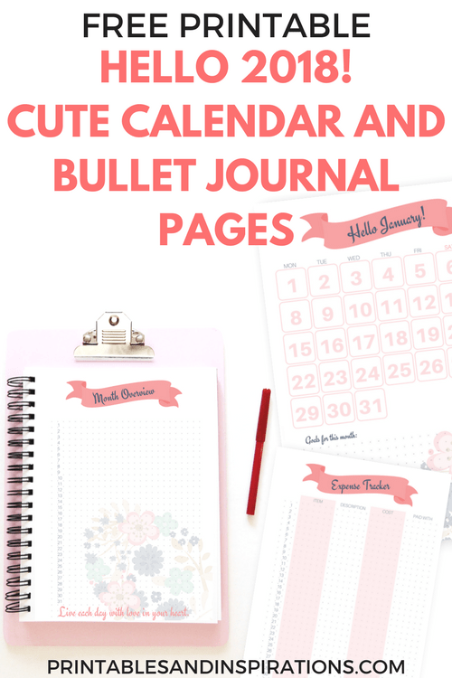 hello 2018 cute calendar, free printable planner pages, half size planner, free 2018 floral calendar, monthly planner, bullet journal layout, weekly spread