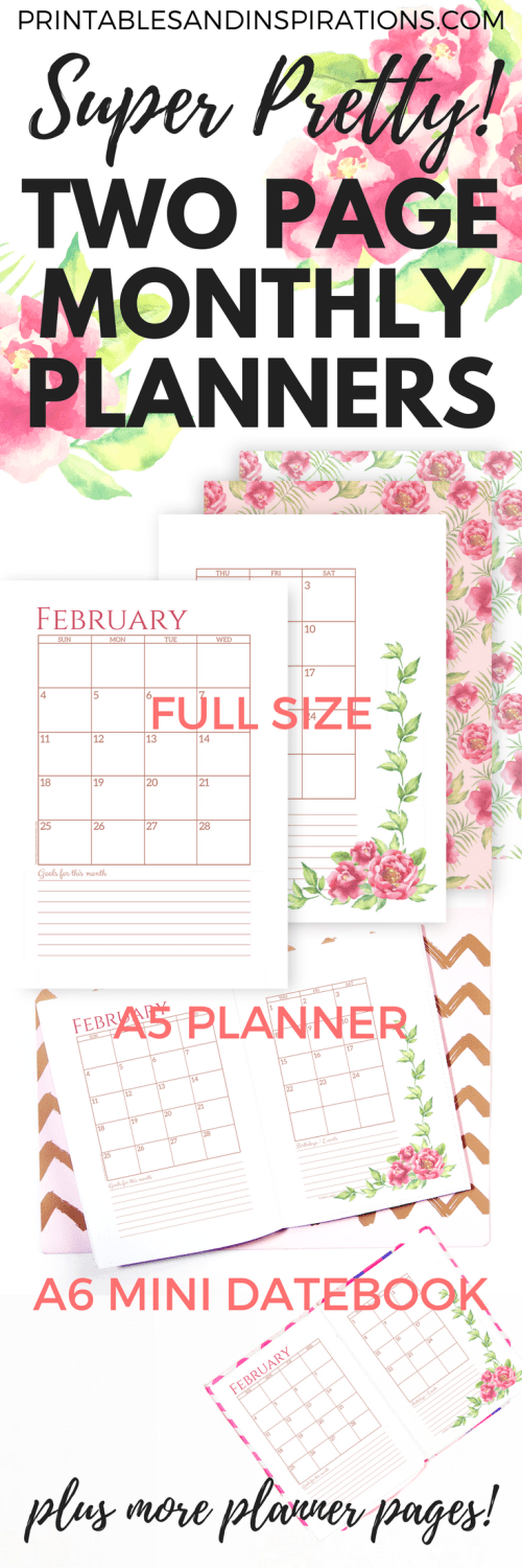 Free printable planner 2018 two page monthly planner, 2018 printable calendar, monthly spread, free monthly planner printables, monthly planner in two pages