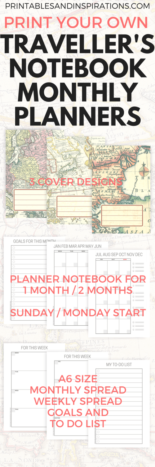 DIY travellers notebook, travel planner, free printable planner pages, monthly spread, weekly spread, mini datebook, free monthly planner, printable calendar, Monday start