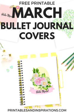 free printable March bullet journal cover page, bullet journal ideas, printable planner, March bullet journal layout