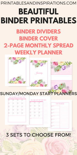 Planner or binder dividers with roses