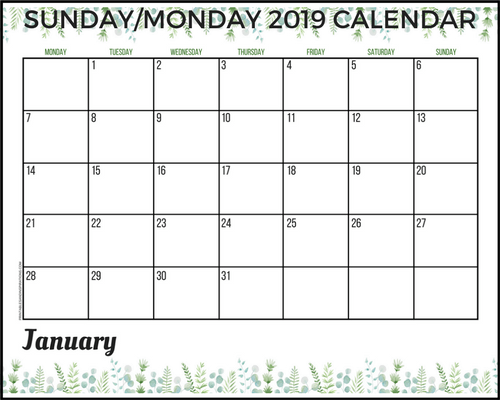 Free 2019 Planner Printable PDF With Sunday And Monday ...