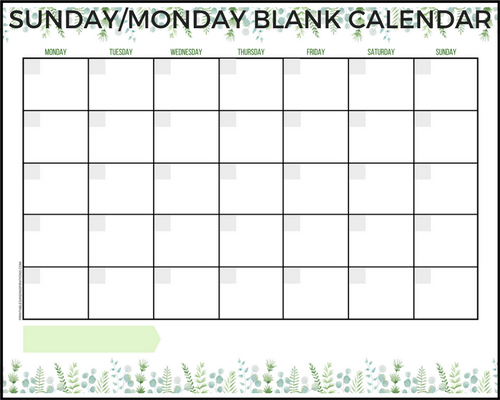 monday through sunday calendar