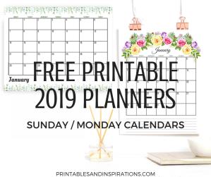 free printable planner 2019 calendar, 2019 monthly planner, free 2019 calendar, 2019 floral planner printable, floral calendar 2019, #freeprintables #plannerprintables