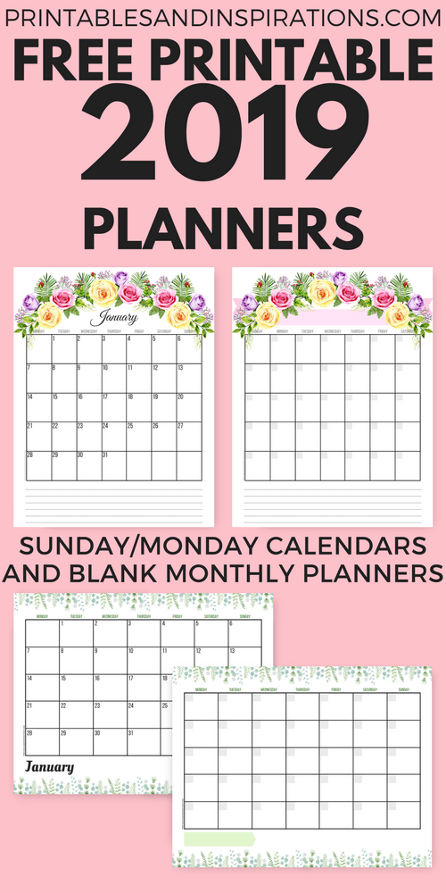 Calendar Design Png : Free planner printable pdf with sunday and monday