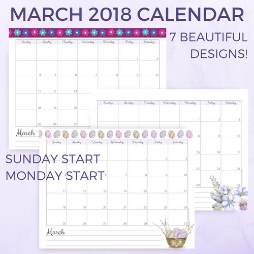 March 2018 calendar, March 2018 printable calendars, printable planners, monthly planner, weekly planner, March calendar printables, spring calendar, Monday start calendar