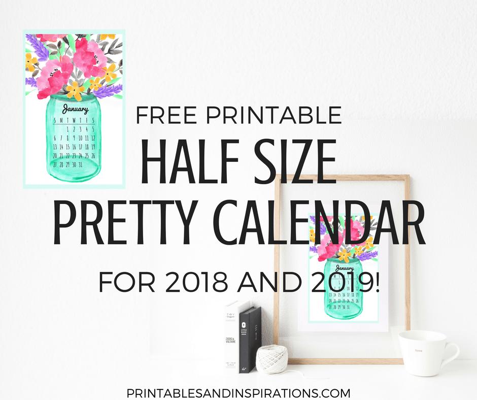 Free Printable Half Size Calendar 2018 And 2019 ...