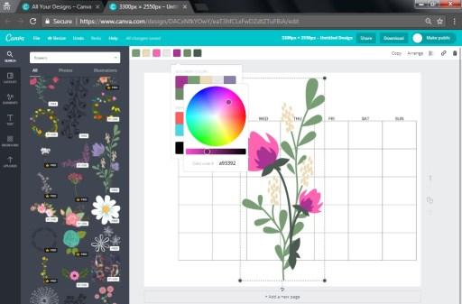 Make a calendar, design your own planner, design a calendar, free calendar templates, Canva tutorial, how to make a printable calendar using Canva