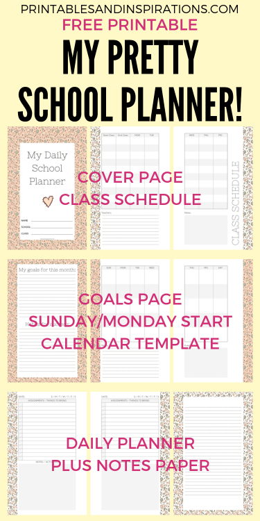2019-2020 half size school planner for kids - printable student planner plus 2019 to 2020 calendar and motivational quotes for kids. #backtoschool #printablesandinspirations #dailyplanner