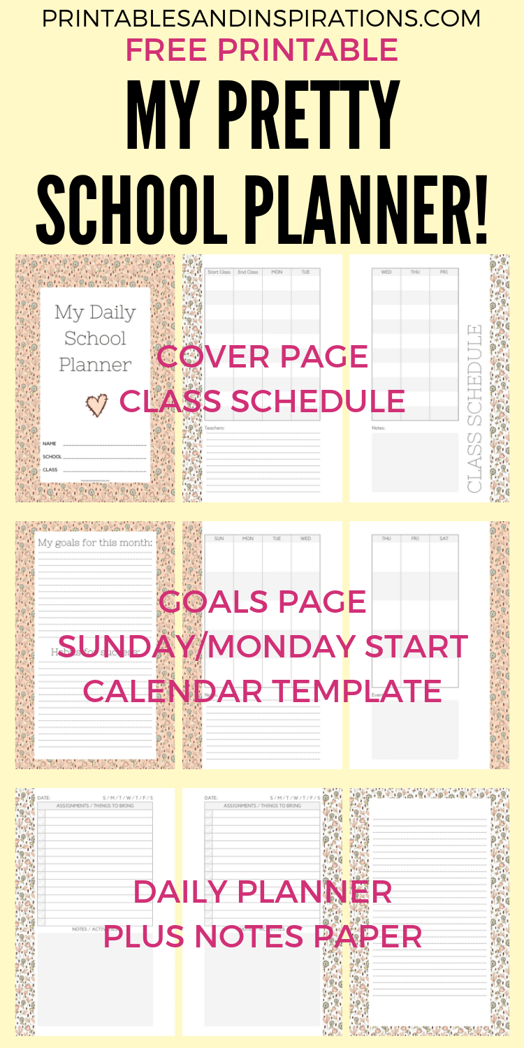 photo relating to School Planner Printable called Totally free Fifty percent Measurement Day-to-day College Planner For 2019-2020
