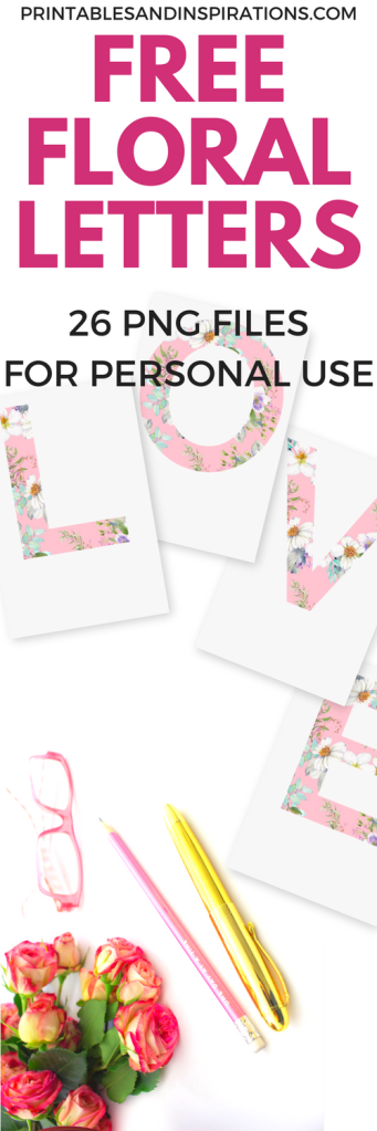 Free floral letters, floral alphabet free download, png floral letters, pink letters, DIY floral letters