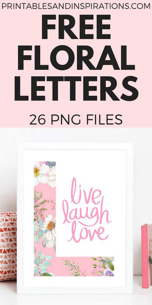 Free floral letters, floral alphabet free download, png floral letters, pink letters, DIY floral letters