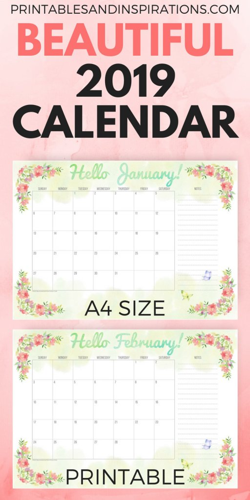 Beautiful 2019 monthly calendar, green and floral, watercolor calendar