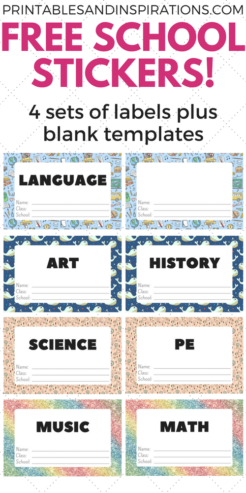 Free Cute Label Stickers For School With Blank Templates
