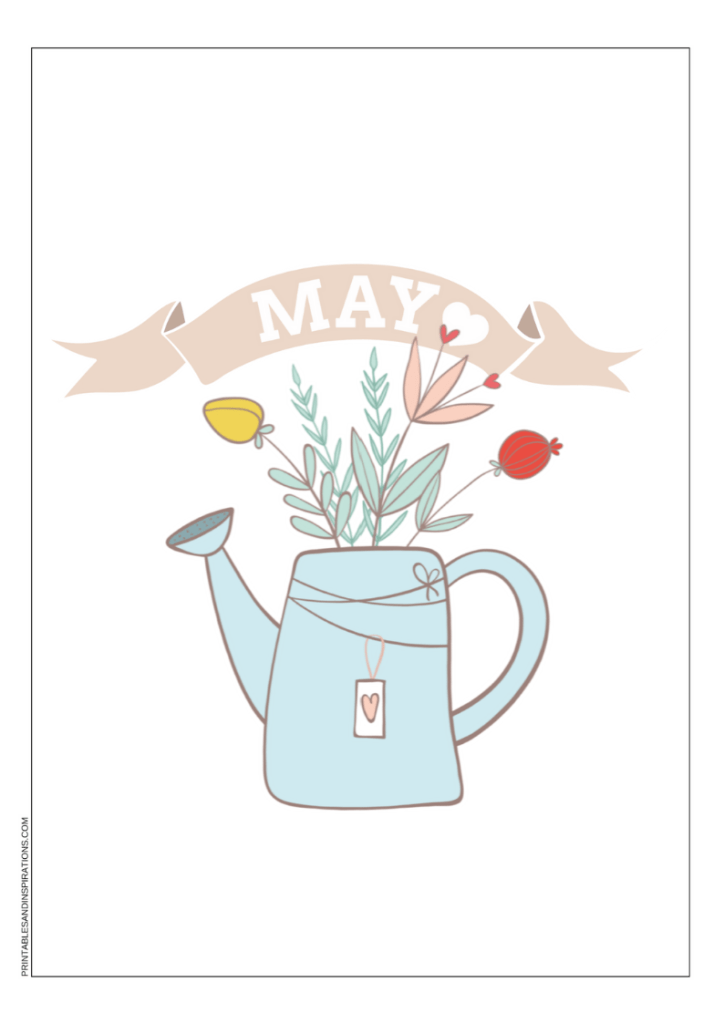 Free Printable May Bullet Journal Title Page - May bujo themes and other bullet journal ideas for your cover page. #freeprintable #printablesandinspirations #bulletjournal #bujomonthly #bujoideas