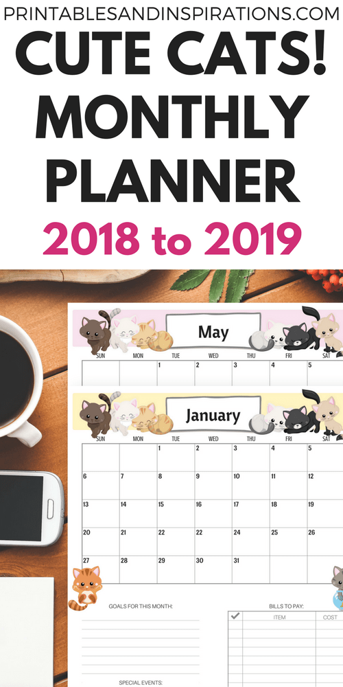 cute cats free printable monthly calendar for 2018 and