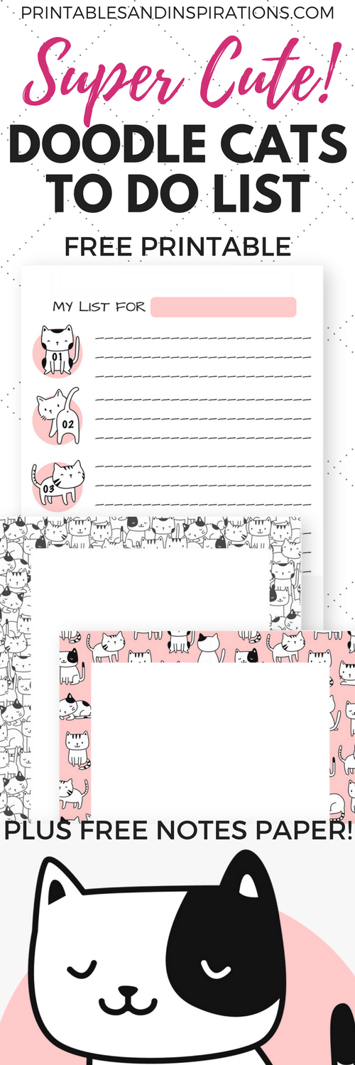 image relating to Cute Printable to Do List named Lovable Absolutely free Printable In direction of Do Checklist - Doodle Cats! - Printables