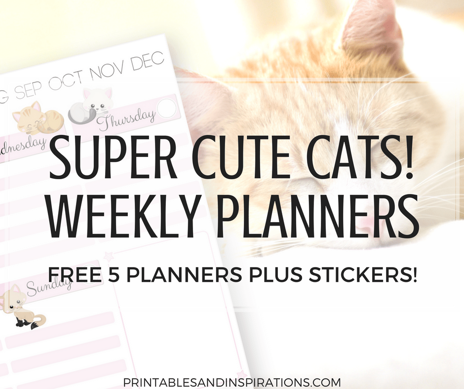 Free Printable Cute Cats Weekly Planner And Cats Planner ...